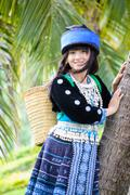 Stock Photo of cute asian young girl in beautiful hill tribe (hmong) costume of northern tha
