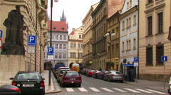 Panoramic street and building views in Prague, Czech Republic Stock Footage