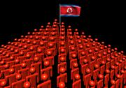 Pyramid of abstract people with north korea flag illustration Stock Illustration