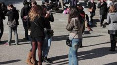 Tourists Montmartre Sacre Cœur Basilica Paris  - tilt up  Stock Footage