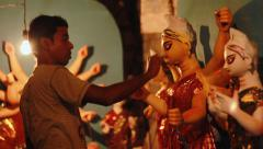 Making Of Durga Idol At Kumartuli Stock Footage