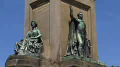 THE HAGUE Monument Plein 1813, bronze figures King Willem I and history Stock Footage