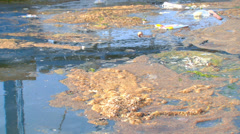 Environmental contamination of water by toxic waste Stock Footage