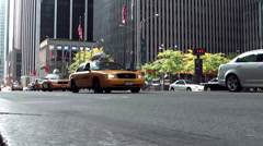 New York 091HD Manhattan, Yellow Cabs on 5th Avenue between Skyscrapers Stock Footage