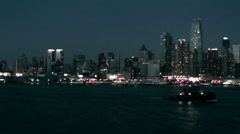 New York 135HD Manhattan Skyline at Evening, Tracking Shot from Hudson River Stock Footage