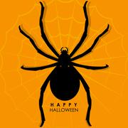 Spider on web for Halloween Background Stock Illustration