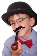 boy and moustache - stock photo