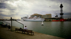 Barcelona harbour cruiseboat rope way Stock Footage