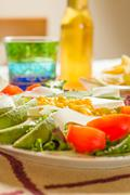 Traditional mexican food with salad and nachos Stock Photos