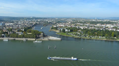 T/L Germany Koblenz Deutsche Eck German Corner Rhine and Mosel Moselle river Stock Footage