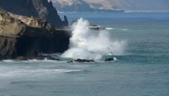 Dangerous fishing in big waves 11096 Stock Footage