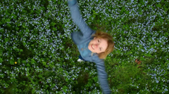 Excellent girl in park, smiling, waving, posing Stock Footage
