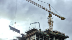 Iron workers Crane, Construction Building site Time Lapse HDR Stock Footage
