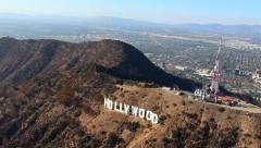 Stock Video Footage of HD Hollywood Sign Aerial Shot Los Angeles