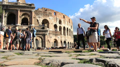 Tourists follow their guide in Rome Stock Footage