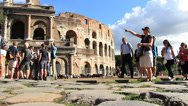 Stock Video Footage of Tourists follow their guide in Rome