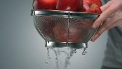 Washing apple, Slow Motion - stock footage