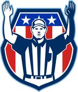 american football official referee touchdown - stock illustration