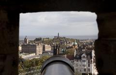 edinburgh through castle gunport - stock photo