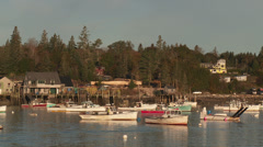 Lobster Boats in Bass Harbor 1 Stock Footage