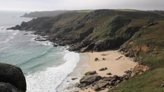 Porthchapel beach Cornwall England UK near the Minack Theatre and Porthcurno Stock Footage