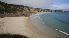 Waves at Porthcurno beach Cornwall England UK near the Minack Theatre Stock Footage