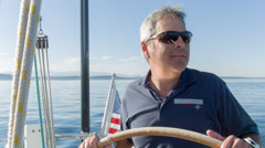 Sail Boat Captain Stock Footage