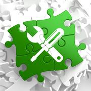 Service Concept on Green Puzzle Pieces. Stock Illustration