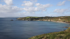 Kenneggy Cove and bay Cornwall England near Praa Sands and Penzance Stock Footage