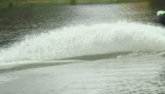 Summersaults and tricks performed by male, wakeboarding contest Stock Footage