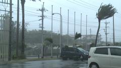 Hurricane Hits Town With Powerful Wind Stock Footage