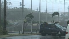 Powerful Wind Hits Town As Hurricane Makes Landfall Stock Footage
