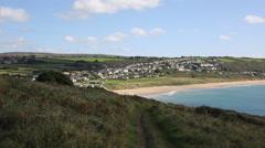 Praa Sands Cornwall England UK near Penzance and Mullion PAN Stock Footage