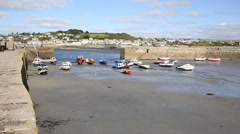 St Michaels Mount Harbour Cornwall England PAN Stock Footage