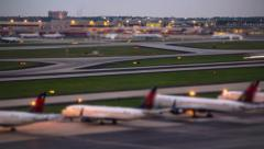 Airplane Time Lapse Airport Stock Footage