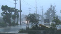 Violent Hurricane Wind Lashes Street During Storm Stock Footage