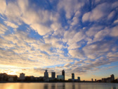 Stock Video Footage of Sunset on the waterfront. Ekaterinburg, Russia. Time Lapse. 4x3