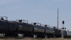 Oil Tank Cars in Canadian National Train - stock footage