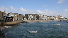 St Ives harbour Cornwall England PAN Stock Footage