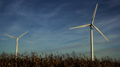 Wind turbines in farmland, midwestern USA - stock footage