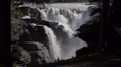 Athabasca Falls from Gorge Below Falls - stock footage