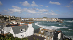View of St Ives harbour Cornwall England Stock Footage