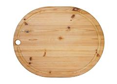 Wooden oval cutting board isolated - stock photo