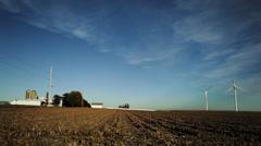 Wind turbines in farmland, midwestern USA Stock Footage