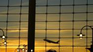 Stock Video Footage of Airport Travelers Sequence People Silhouette Sunset