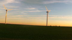 Wind turbines in farmland, midwestern USA Stock Footage