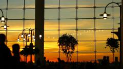 Airport Travelers People Silhouette Sunset Stock Footage