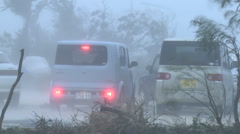 Car Drives In Raging Hurricane Wind - stock footage