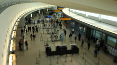 Airport Travelers Check-in Area Tilt Shift Stock Footage
