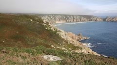 Coast of Cornwall England near the Minack Theatre and Porthcurno Stock Footage